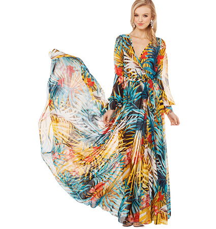 Sexy Long Sleeve Maxi Dress – Multi Colored / V Neck Plunge