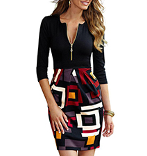Two Tone Bodycon Dress – Long Sleeves / Printed Skirt Section