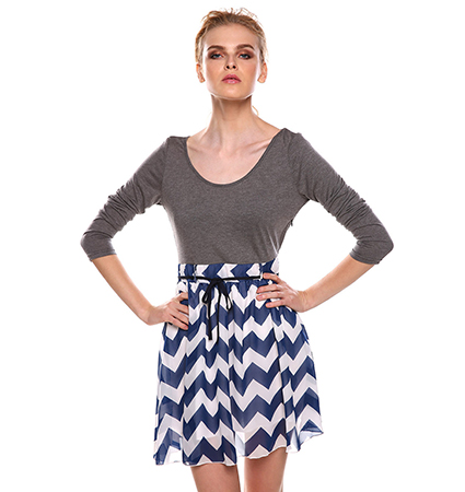 Fit and Flare Dress – Zig Zag Skirt / Gray Upper Section