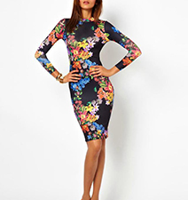 Floral Printed Bodycon Dress – Open Back / Long Sleeves