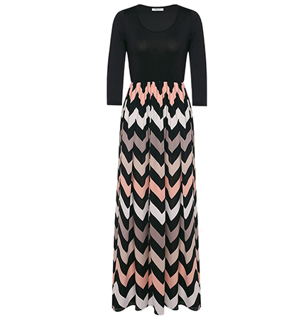 Maxi Dress – Black Top Half / Chevron Printed Skirt Section