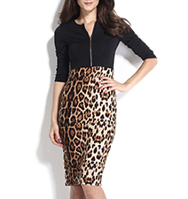 Midi Bodycon Dress – Leopard Print Skirt / Black Top