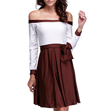 Off Shoulder Mini Dress – Deep Wine and White / Bow Detail