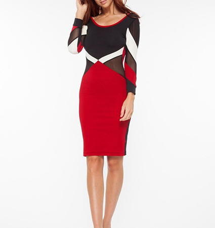 Bodycon Dress – Red White Black Brown / Knee Length