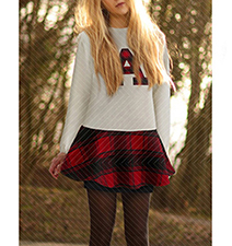 Mini Skater Dress – Red and Black Plaid Skirt / White Top