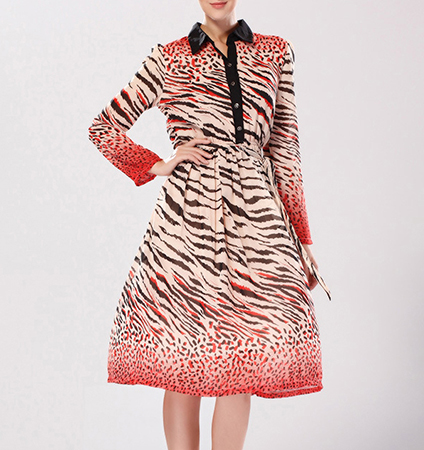 Midi Length Dress – Black Collar / Black and Red Zebra Print