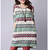 Shift Dress – Horizontal Print / Green Red and White