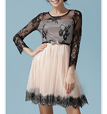 Chiffon Mini Dress – Black Lace / Pale Pink