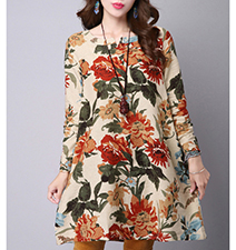 Modern Floral Dress – Vintage Floral Print / Long Sleeves