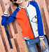 Womens Baseball Style Jacket – White Orange Blue / Snoopy Logo