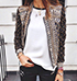 Womens Quilted Jacket – Multicolored Print / Long Sleeves