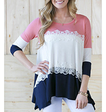 Womens Asymmetrical Top – Pink Royal Blue / White Lace Trim