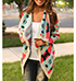 Womens Southwestern Style Wrap – Multicolored / Wide Lapels