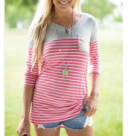Womens Long Casual Blouse – Stripes / Gray Pink and White