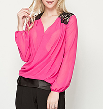 Womens Chiffon Blouse – Fuchsia / Black Trim