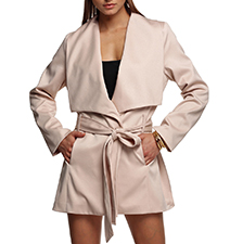 Womens Short Trench Coat – Wide Lapels / Pale Pink