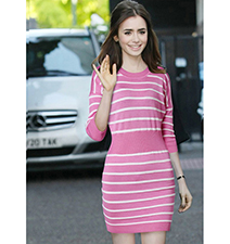 Short Sweater Dress – Pink White Striped / Large Belt