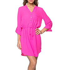 Pink Chiffon Shirt Dress – V Neck / Belted Waist