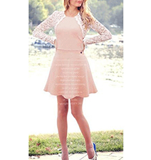 Pink Long Sleeve Skater Dress – White Lace Cardigan