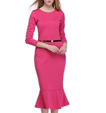 Mermaid Style Midi Dress – Bright Pink / Attached Belt