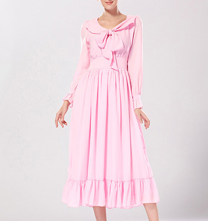Long Dress – Pale Pink / Ruffle / Bow Tie