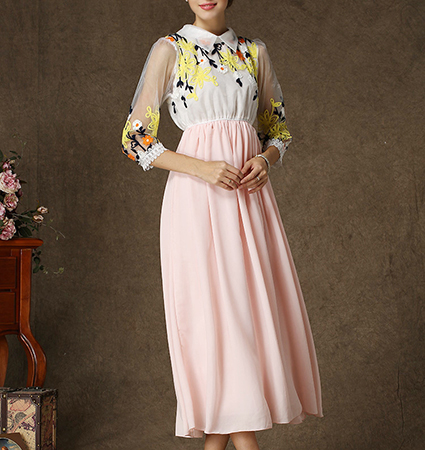 Semi-Formal Long Chiffon Floral Dress – Pale Pink / Round Collar