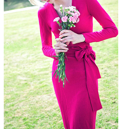 Retro Thirties Wrap Dress – Hot Pink