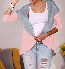 Womens Open Jacket – Wide Velour Collar and Shoulder Edge / Elbow Length Sleeves