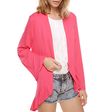Womens Jacket – Coral / Ruffled Hemline / Long Belled Sleeves