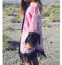 Womens Kimono Jacket – Black Fringe / Pink and White Print