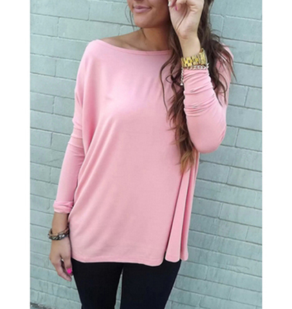 Womens Pink Casual T-Shirt – Long Sleeves / 100% Cotton
