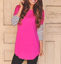 Womens Tunic Top – Fuchsia / Striped Sleeves