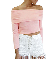 Womens Cold Shoulder Top – Pale Pink / Long Sleeves
