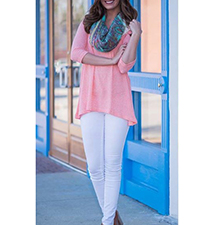 Womens Tunic – Pink / White Lace