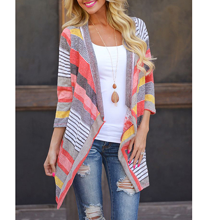 Womens Outer Wrap – Multicolored Prints / Asymmetrical Hemline