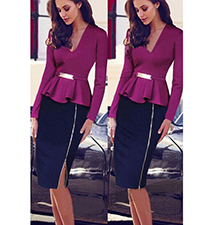 Purple and Black Peplum Dress – Pencil Skirt / V Neckline
