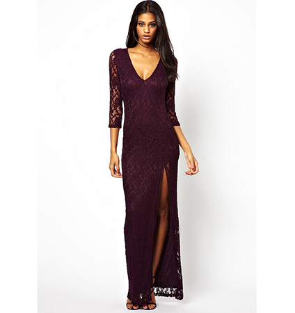 Purple Maxi Dress – Long Lace Sleeves / Low Cut V Neck