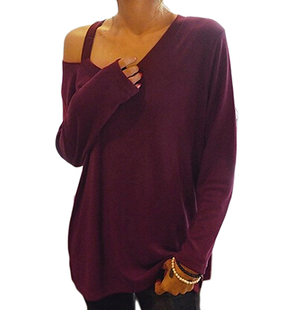 Womens One Shoulder Blouse – Long Sleeves / Burgundy