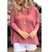 Womens Loose Fitting Blouse – Cowl Neckline / Muted Red