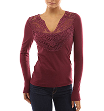 Womens Ballet Style Blouse – Lace / Burgundy