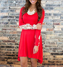 Long Sleeves Floral Embellished Dress – Red / Lace Detailed