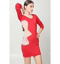Bodycon Mini Dress – Red and Beige / Long Sleeves