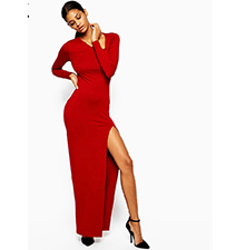 Red Maxi Dress – Side Neck Cut Out Feature / Long Sleeves