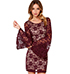 Lace Maroon Dress – Long Sleeves Flared at Bottom / Three Quarter Length
