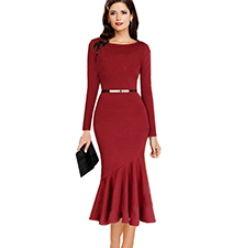 Red Long Dress – Broad Neckline / Pleated Skirt With Flare