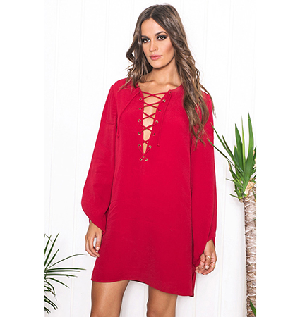 Lace Up Three Quarter Red Dress – Long Sleeves / Bell Bottom Cuff With Hem