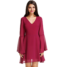 Three Quarter Chiffon Red Dress – V Neckline / Bell Bottom Arms / Sheer Hemline
