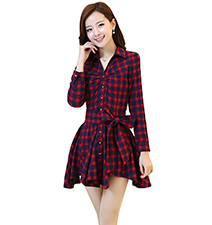 Checked Dress – Red and Black / Buttons Down the Front
