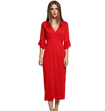Red Empire Waist Dress – V Cut Chest line / Ankle Length Skirt