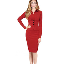 Red Knee Length Dress – Pencil Cut Skirt / Black Buttons / V Neck Collar